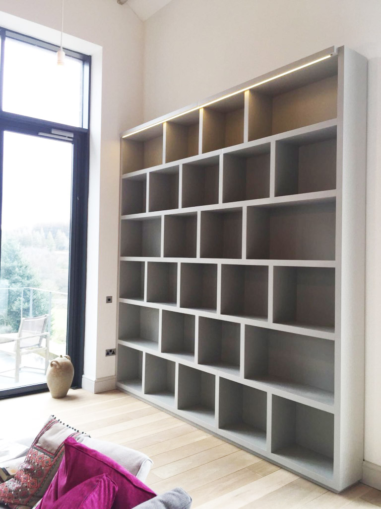 grey shelving unit