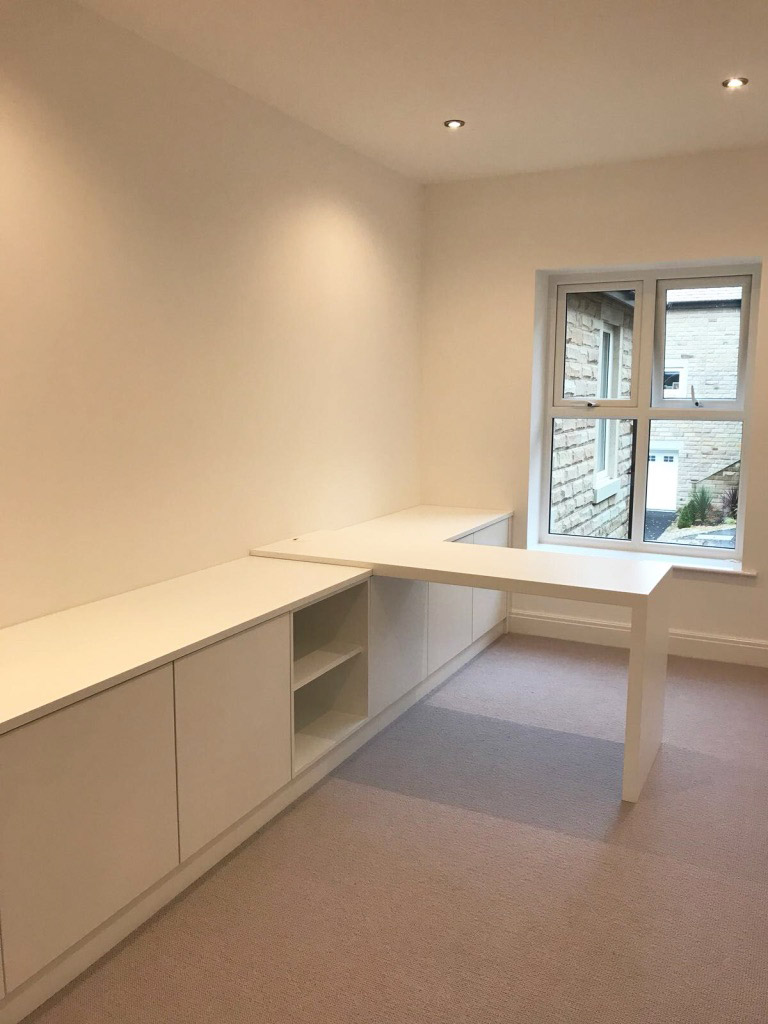 white fitted home office