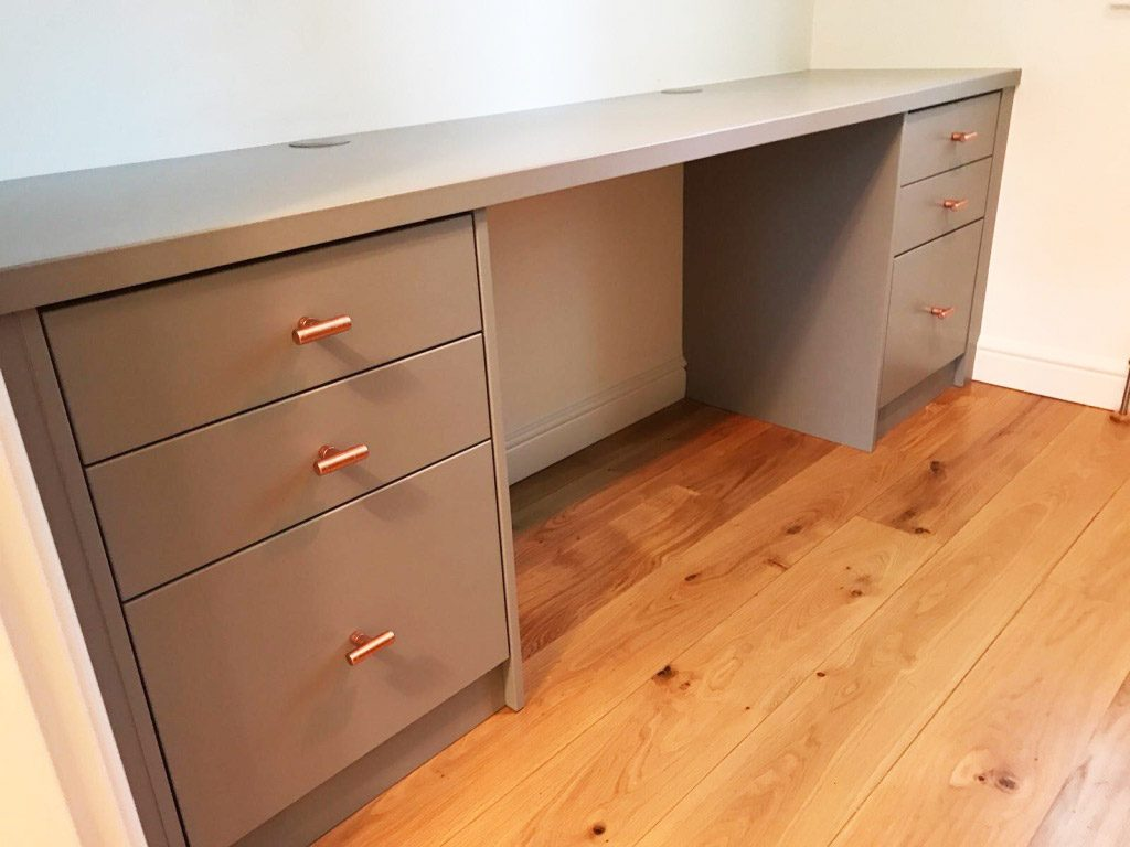 grey fitted office desk
