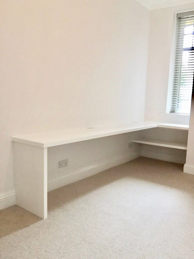 white fitted desk