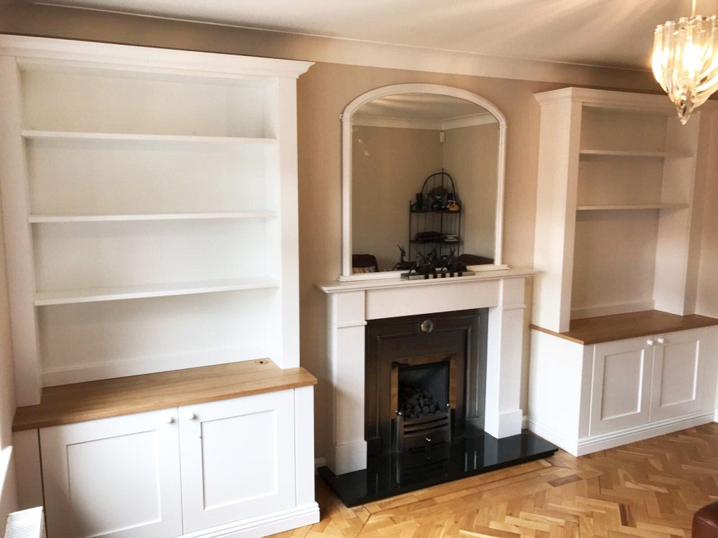 white and natural wood fitted alcove storage