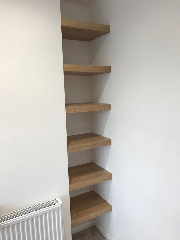 wooden fitted shelving